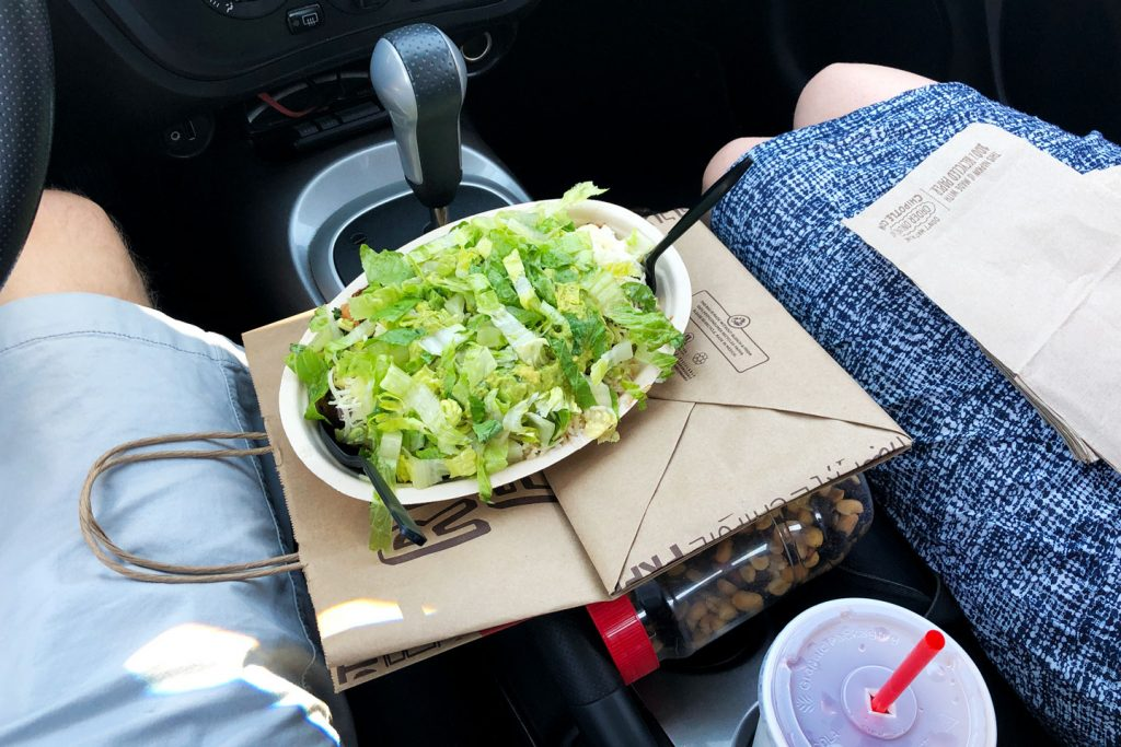 Get Takeout, Find an Empty Parking Lot, and Eat in the Car
